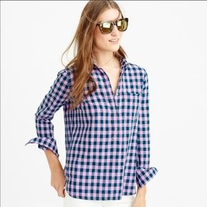 J. Crew Gingham Popover Shirt Blue Lilac